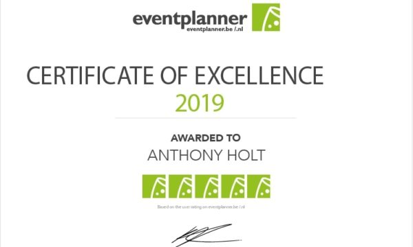 certificate of excellence goochelaar Anthony Holt